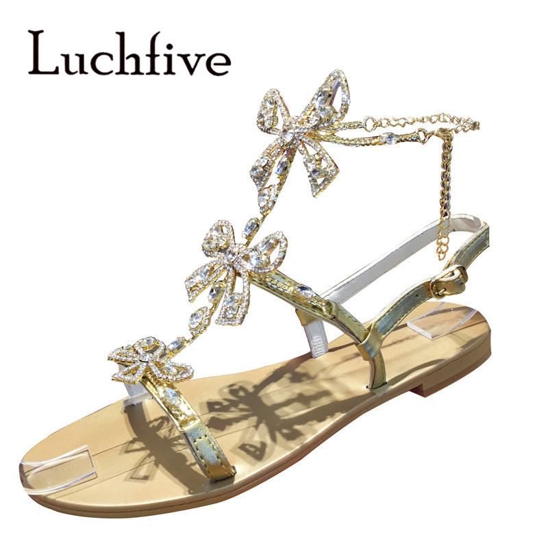 Luxury Womens Crystal Butterfly Gold Sandals Princess Shoes Open Toe Ankle Nacklace Flat Beach Sandals for VacationLuxury Womens Crystal Butterfly Gold Sandals Princess Shoes Open Toe Ankle Nacklace Flat Beach Sandals for Vacation