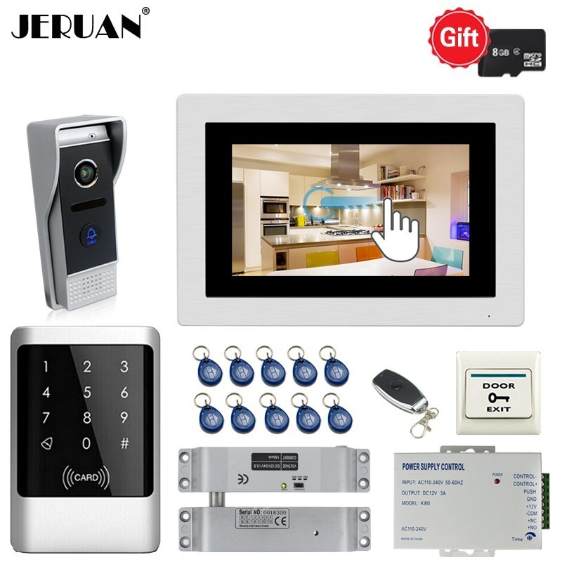 JERUAN 720P AHD HD Motion Detection 7 inch Video Doorphone Doorbell Intercom System Kit With RFID Access Controller In Stock solid knot hem tee