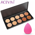 ACEVIVI 10 Colores de Maquillaje Crema Facial Corrector Paleta + Cepillo de Polvo/Puff Esponja Maquillaje Contour Palette Worldwide venta