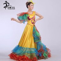 Women Fashion Stage/Flamenco Skirt 360 Degree Spanish Flamenco Dance Dresses Spanish Dance Dresses/Sexy Singer Costume
