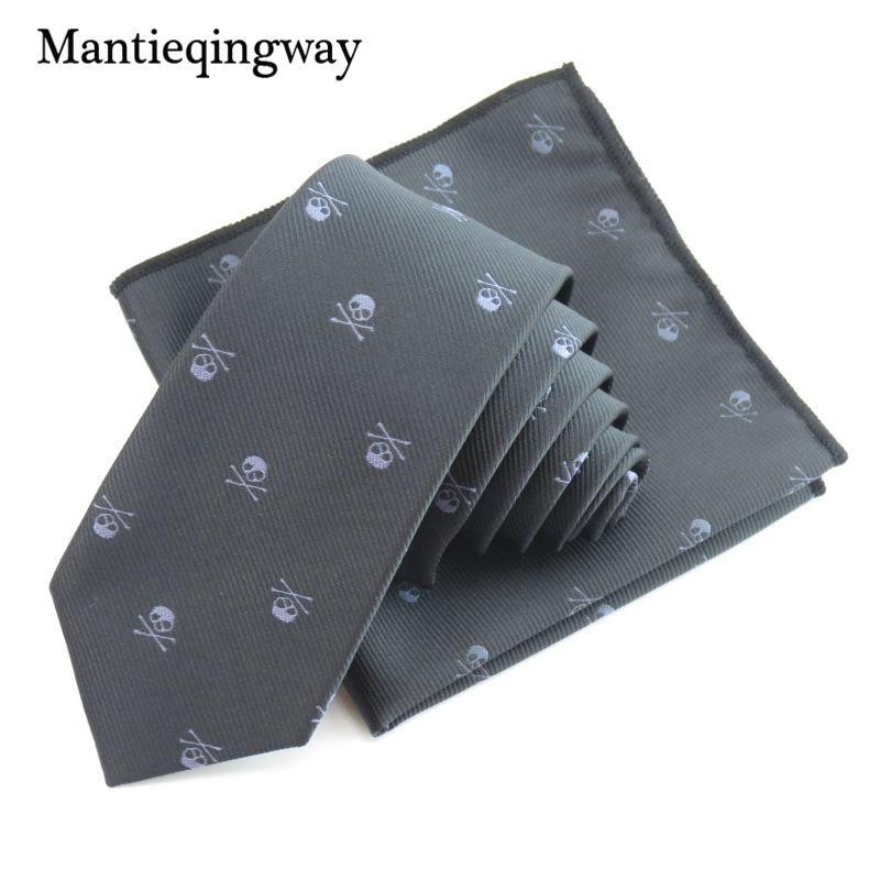 Mantieqingway Bisnis Saputangan Dasi Polyester Dasi Set Tengkorak - Aksesori pakaian - Foto 2