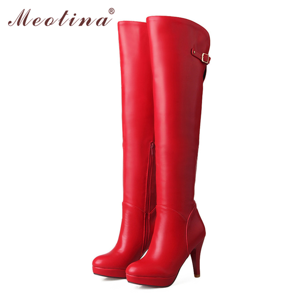 Meotina Sexy Thigh High Boots Shoes Women Platform High