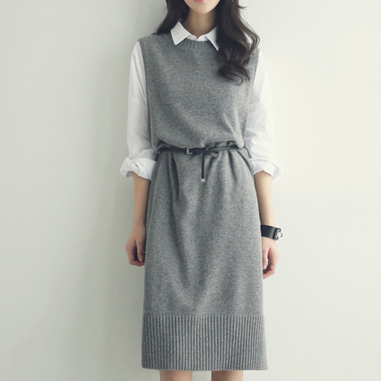 Pullover Vest Dress New Autumn Winter Long Knitted Women Sweaters Vest Sleeveless Warm Sweater Casual Solid Vestido With Belt