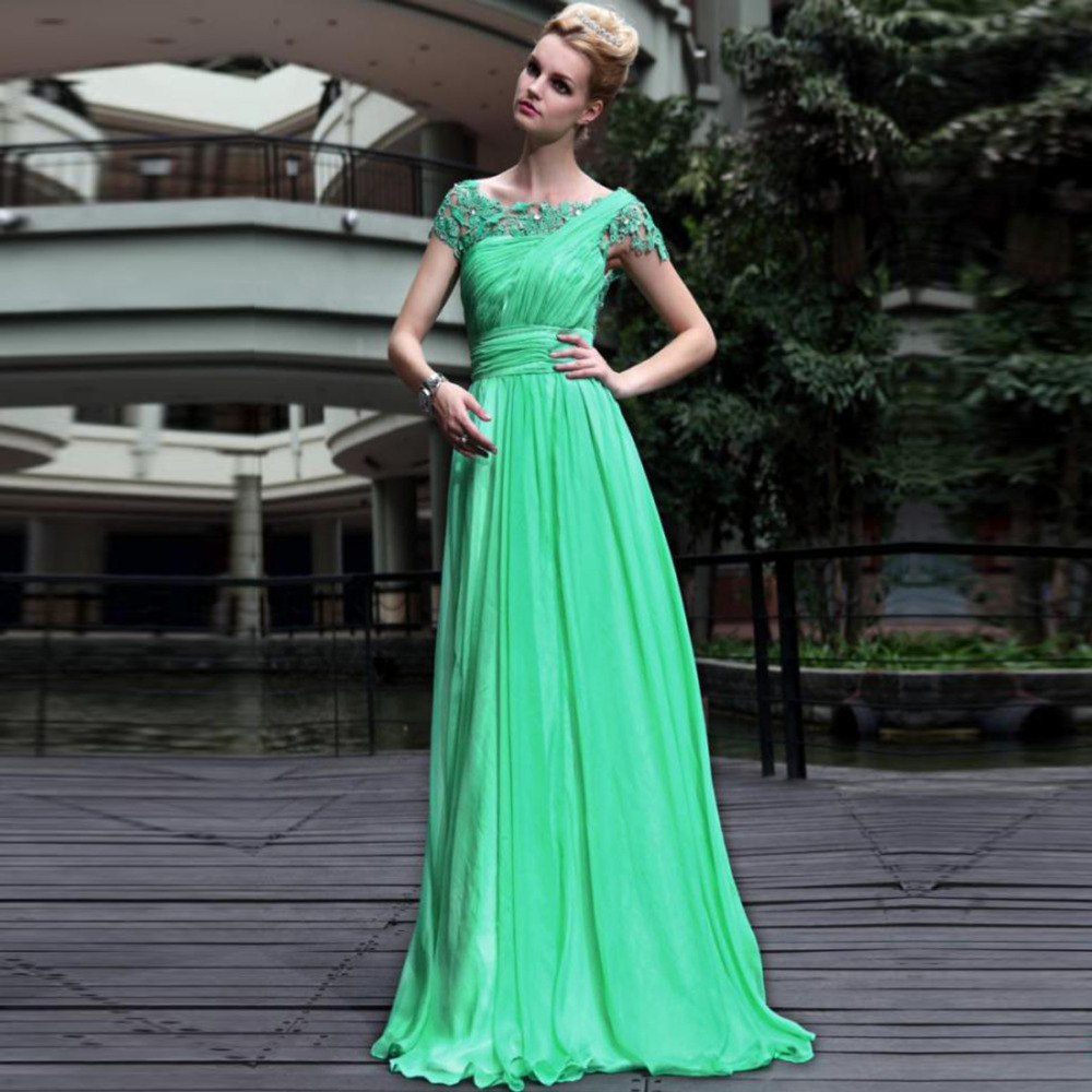 Hot sales ScoopNeck A line Lime Green Lace Chiffon Long ...