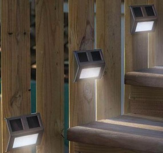 Pure/Warm White 2 LED Solar Light Pathway Deck Path Step Stairway Wall Garden Yard solar Lamp Stainless Steel+ABS+PC