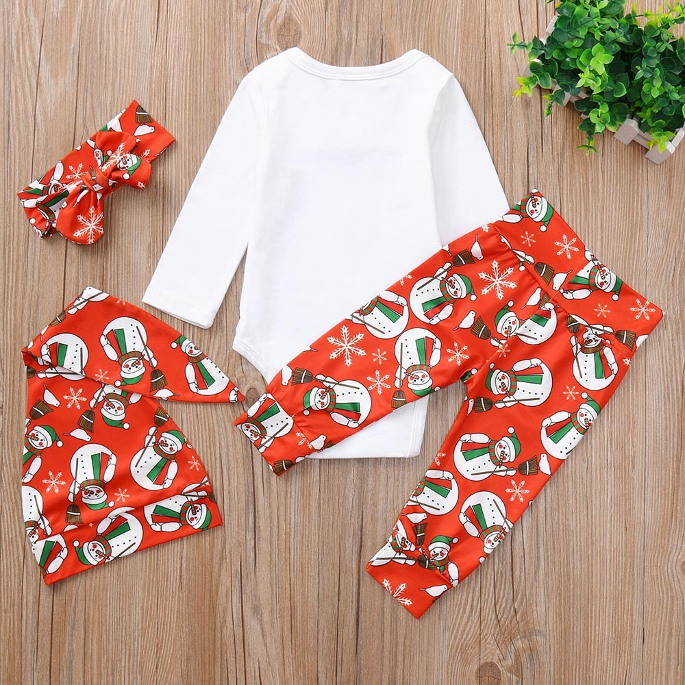 Christmas Baby Kids Boys Girls Clothes Set Rompers Dress Pants Headband Outfits