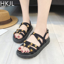 HKJL Sandals summer 2019 new all-in-one womens platform shoes harajuku heighter web celebrity flat Roman chic A030