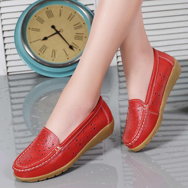Plardin 2019 الربيع النساء الشقق أحذية النساء حقيقية أحذية من الجلد امرأة انقطاع المتسكعون الانزلاق على الباليه الشقق ballerines شقة