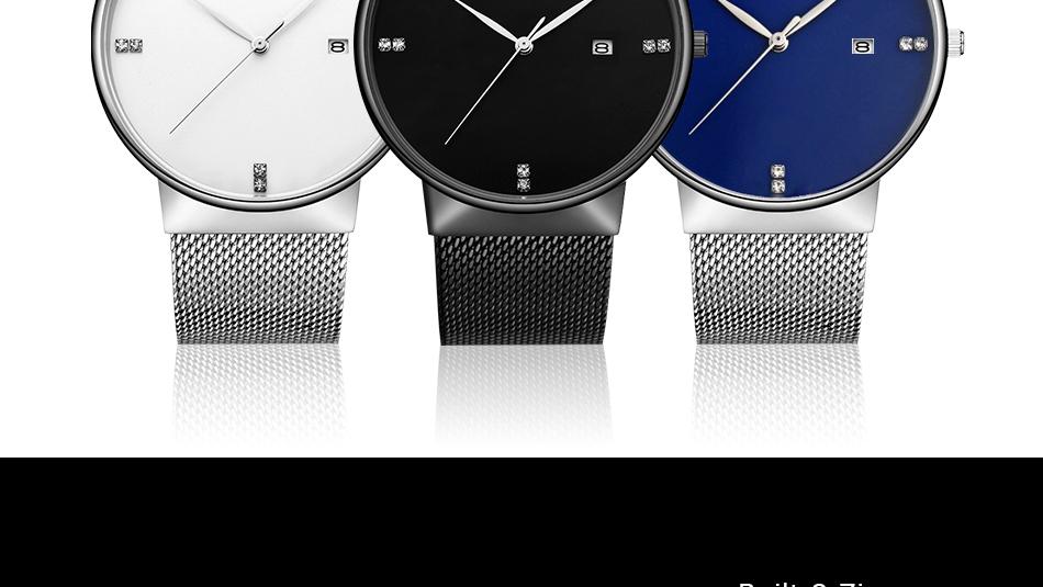 SINOBI Men Quartz Watch Luxury Top Brand Fashion Mesh Delicate Ultra-thin Business Watch Full Stainless Steel Male Wrist Watches 6