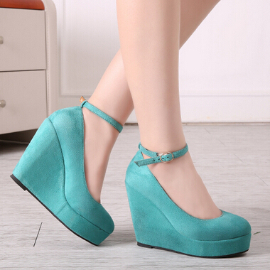 0554968bda4 candy color wedge shoes pumps high heels Spring brief shallow mouth high  heel shoes belt button women's wedges platform shoes