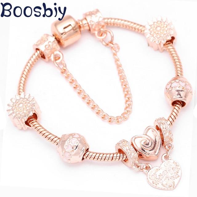 Boosbiy חדש אופנה רוז זהב צמידים לנשים ורוד לב חרוזים Fit מקורי מותג צמידי צמידי תכשיטי DIY