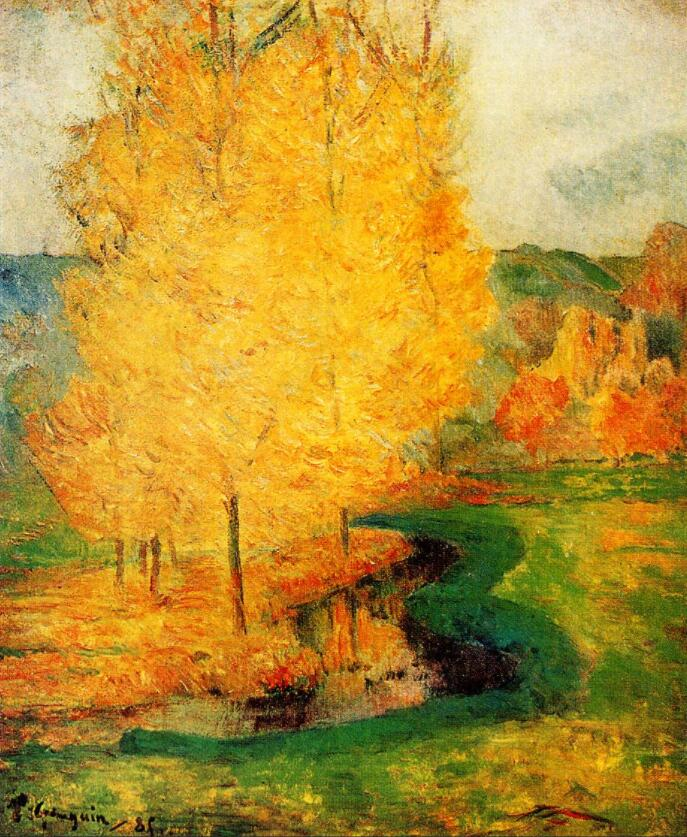 High quality Oil painting Canvas Reproductions By the Stream, Autumn (1885) by Paul Gauguin hand paintedHigh quality Oil painting Canvas Reproductions By the Stream, Autumn (1885) by Paul Gauguin hand painted