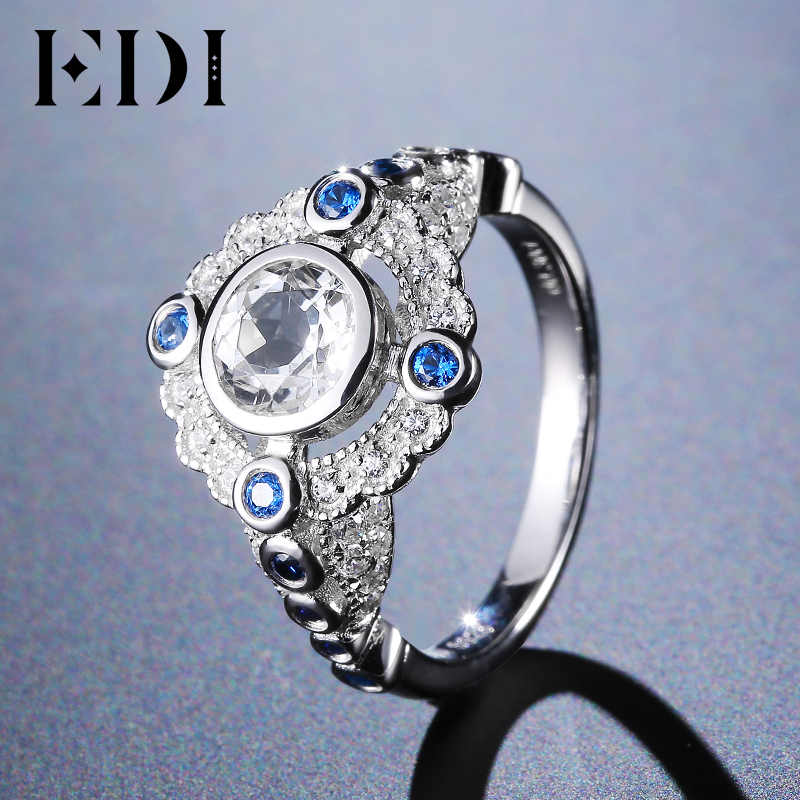 EDI Unique Women Halo Adjustable Crystal Ring Sapphire Wedding Bands Rings For Women 14k 585 White Custom In Fine Jewelry Gift