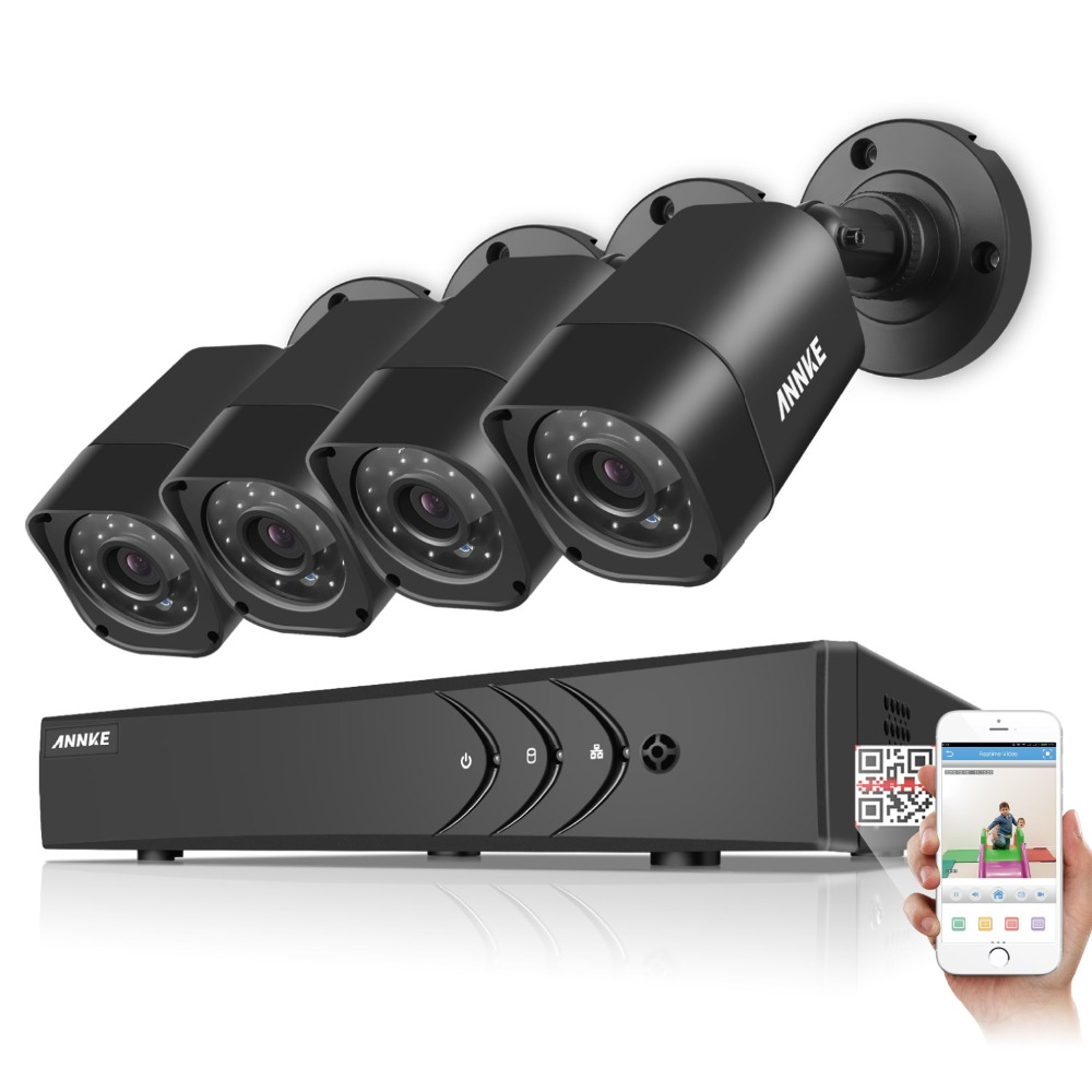 ANNKE 4CH CCTV System 720P 1500TVL HDMI TVI CCTV DVR 4PCS 1.0MP IR Outdoor CCTV Surveillance Security Camera 1TB HDD