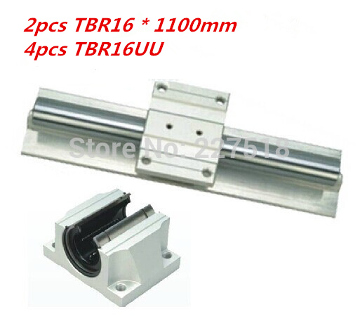 Support Linear rails Assemblies 2pcs TBR16 -1100mm with 4pcs TBR16UU Bearing blocks for CNC Router support linear rails assemblies 2pcs tbr16 1200mm with 4pcs tbr16uu bearing blocks for cnc router