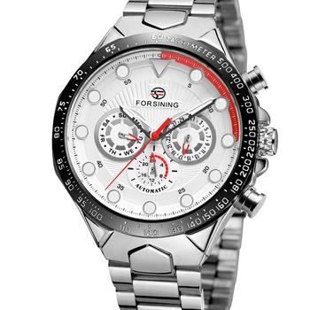 FORSINING Business Men's Luxury Silver Steel Strap Three Eyes Dial Red and White Pointer Men's Automatic Mechanical Wrist Watch