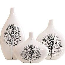 цена на Modern ceramic vase White birch white vase  Tabletop Flower arrangement Crafts home decoration accessories Wedding Gifts