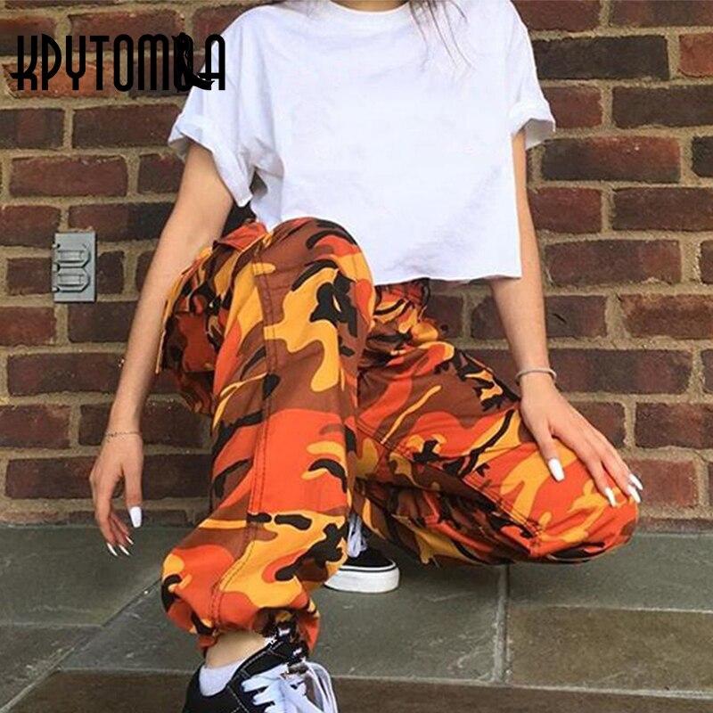 orange pink camouflage cargo pants men women 2018 high quality hip hop streetwear joggers pants. Black Bedroom Furniture Sets. Home Design Ideas