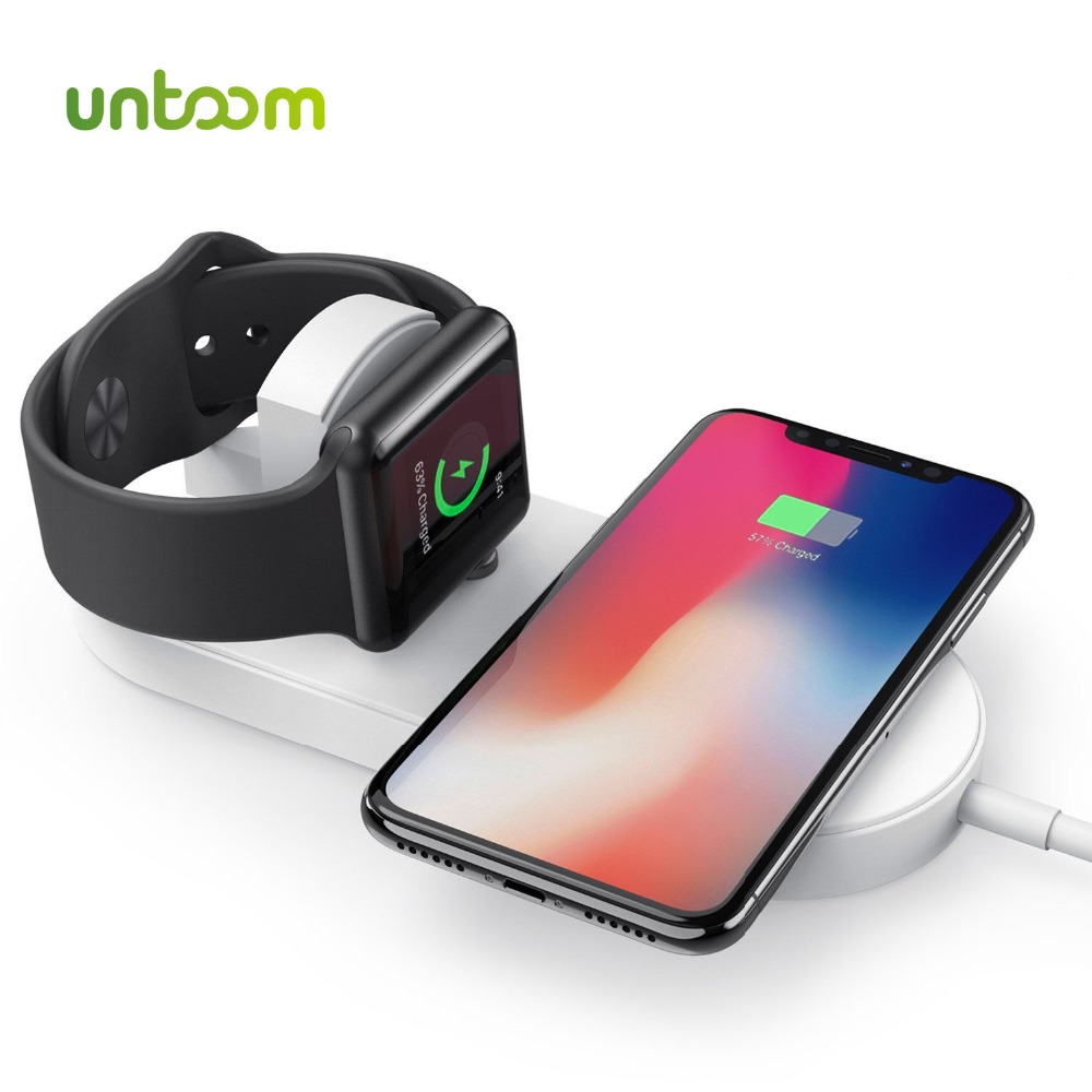 Qi Wireless Fast Charger for Apple Watch 1 2 3 4 iWatch iPhone X 8Plus Samsung Fast Wireless Charging USB Pad Dock Phone Adapter