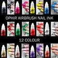 OPHIR Aerógrafo Tinta de Uñas para Uñas de Arte de La Plantilla de Pulido 10 ML/Bottle Pigmento Del Tatuaje Temporal _ TA098 (1-12)