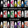 OPHIR Airbrush Nail Ink for Nail Stencil Art Polishing 10 ML/Bottle Temporary Tattoo Pigment _TA098(1-12)