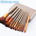 НОВЫЙ 12 шт./компл. Профессиональный макияж кисти набор инструментов Make up Brush наборы инструментов для палитры теней Косметические Кисти косметика