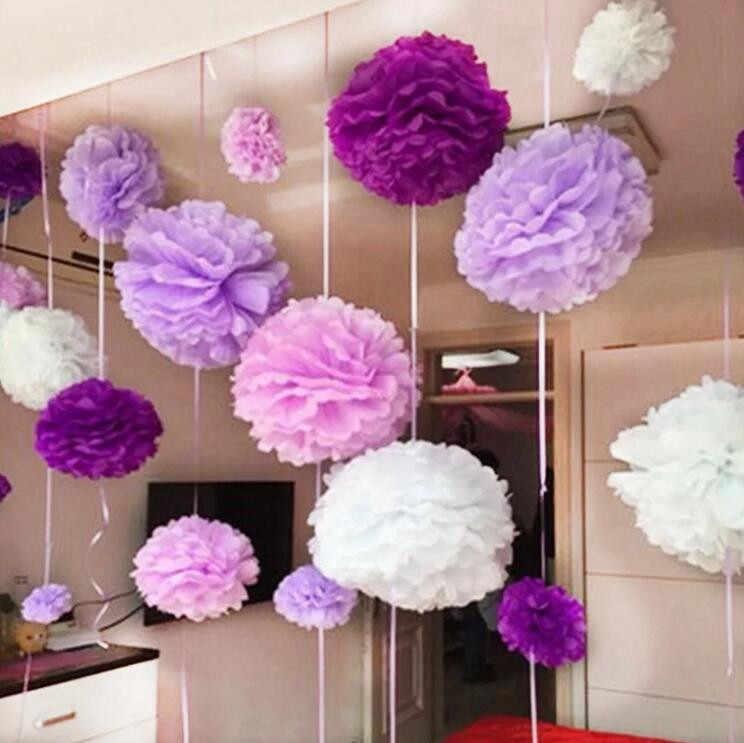 1 PCS 4/6/8/10/12 polegada de Papel Tissue Paper Pom Poms DIY Artesanato Criativo bolas de flores Para O Casamento Casa Decorações de Aniversário