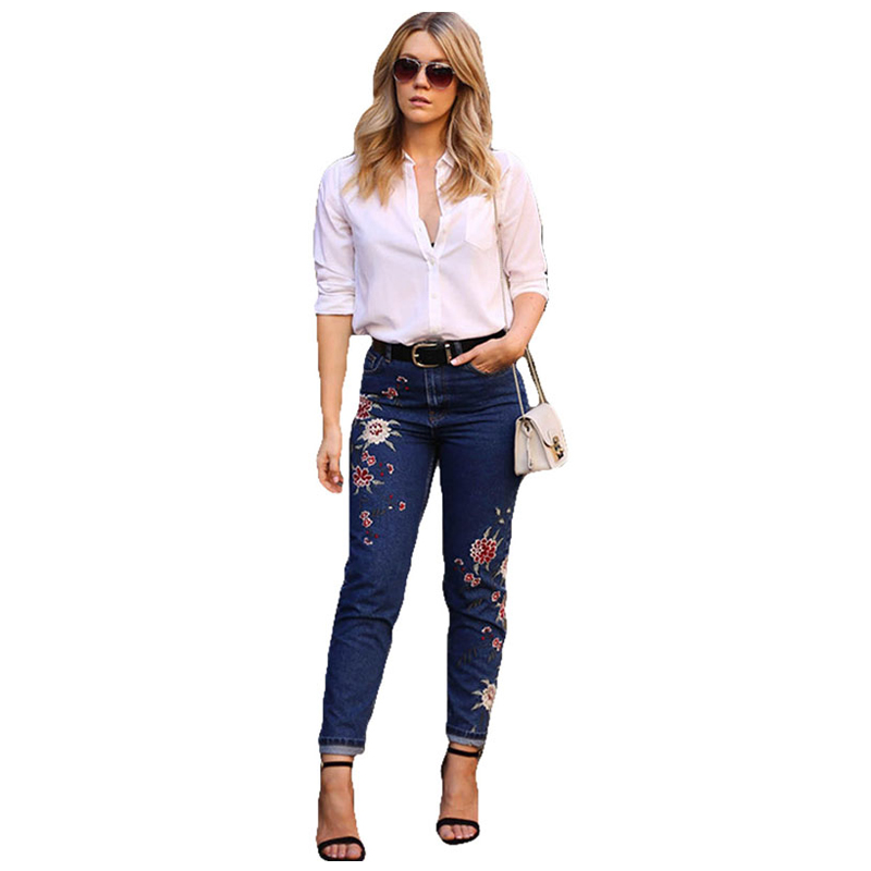 Women Vintage Low Waist Button Hole Pure Blue Denim Straight Ankle Wide Leg Pants Stretchy Ripped Jeans