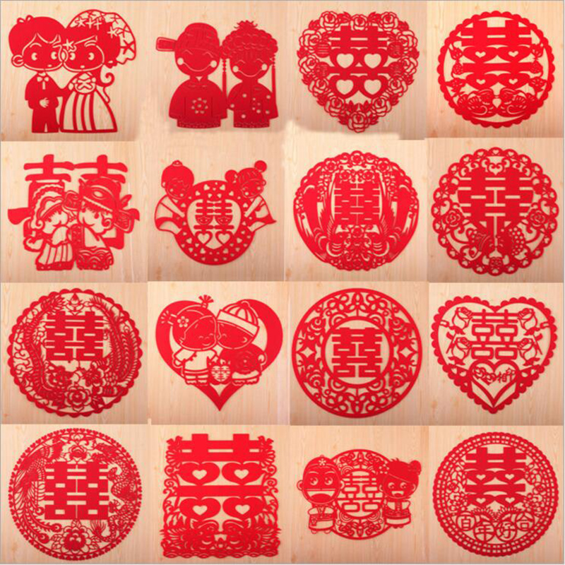 Cammitever double happiness chinese wedding supplies party supplies 10pcs newest 29x26cm wedding supplies stickers marriage room layout new house decoration hi word tuba double junglespirit Images