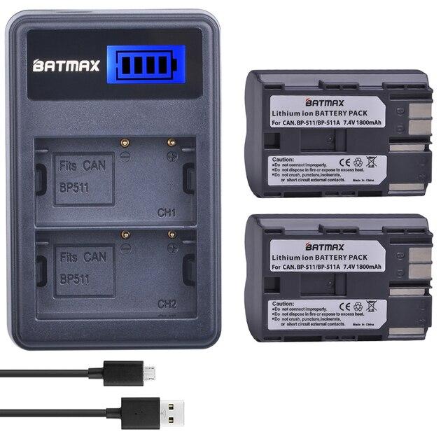 2X BP-511A BP-511 BP 511 511A BP511A Battery Bateria+ LCD Dual USB Charger for Canon G6 G5 G3 G2 G1 EOS 300D 50D 40D 30D 20D 5D