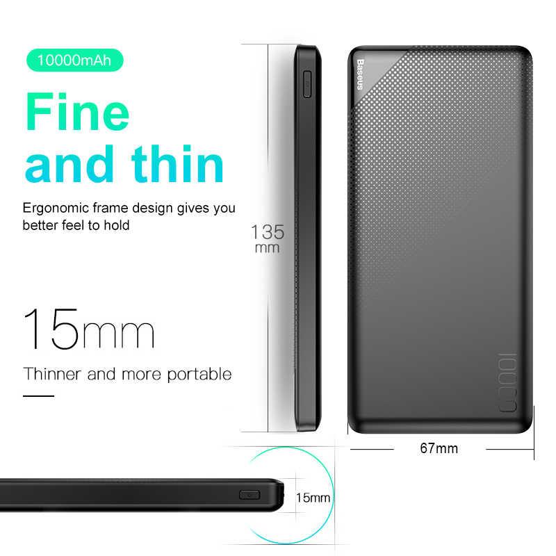 Baseus 10000mAh банк питания для iPhone мобильный телефон внешний аккумулятор мини портативный Банк питания двойной USB зарядное устройство Банк питания