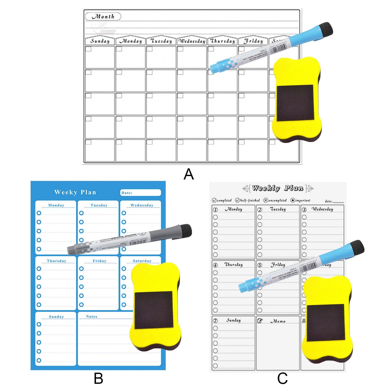 Многоцелевой Съемный Еженедельный ежемесячный планировщик магнит на холодильник сухая стираемая доска с 2 стирающимися маркерами для магазинов дома и офиса