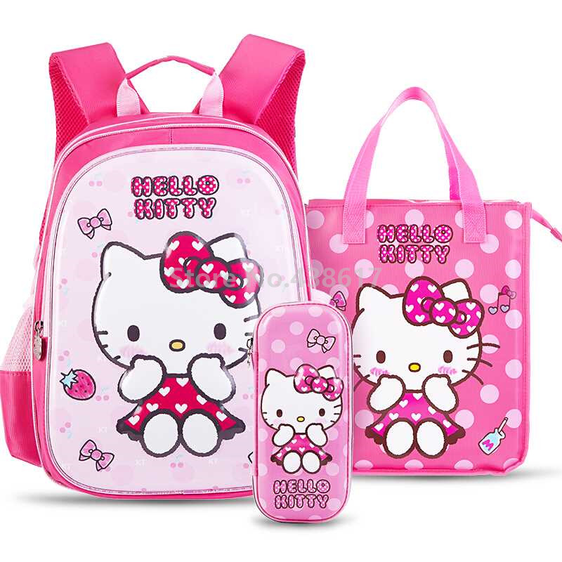 New Hello Kitty Girls Backpack School Bag With Tutorial Handbags and Pencil  Case Set 3 for 272dd33963a3f