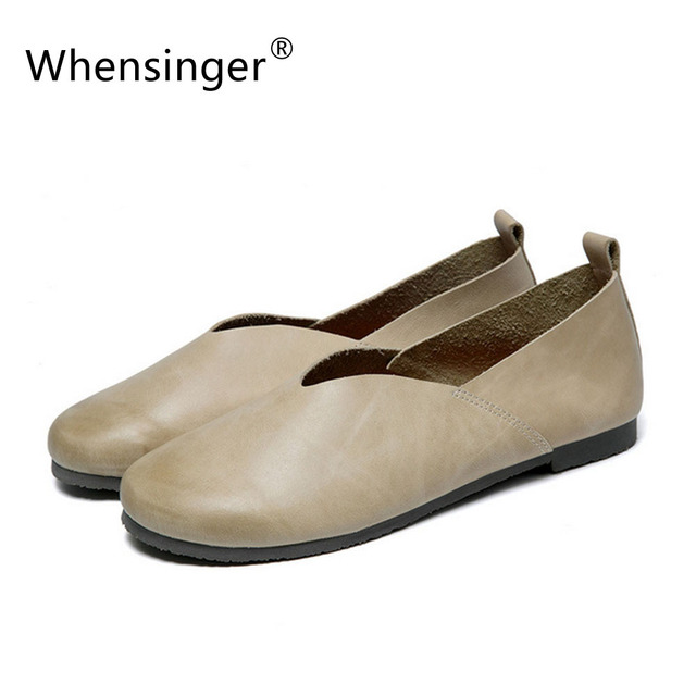 Whensinger 2016 Women Shoes Slip On Flats Ladies Genuine Leather Female Loafers Summer Casual   Retro Handmade F928 FE-PD