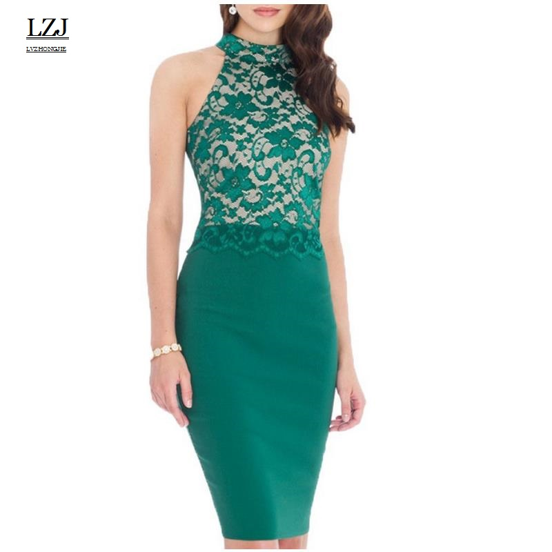 LZJ brand high quality ladies new summer dress sleeveless hanging neck lace leaking shoulder pencil dress vestidos plus size L1