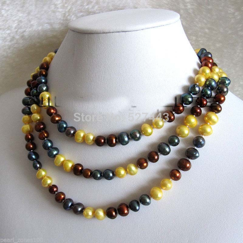 Wholesale 48 6 8mm Multi Color Freshwater Pearl Strand Necklace Fashion Jewelry