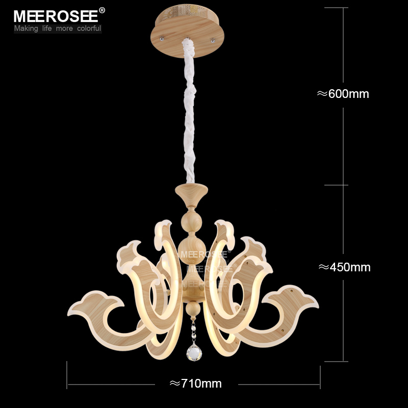 Mordern led pendant light fitting lustre creative handmade wooden color lamps acrylic art hanging lighting fixture free shipping in pendant lights from