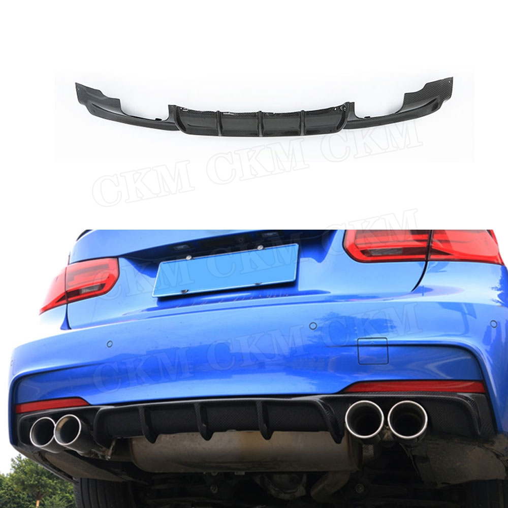 Carbon Fiber Rear Lip Spoiler for BMW F30 F35 320i 328i M tech M sport 2012 18 Fins Shark Style Diffuser Bumper Decoration