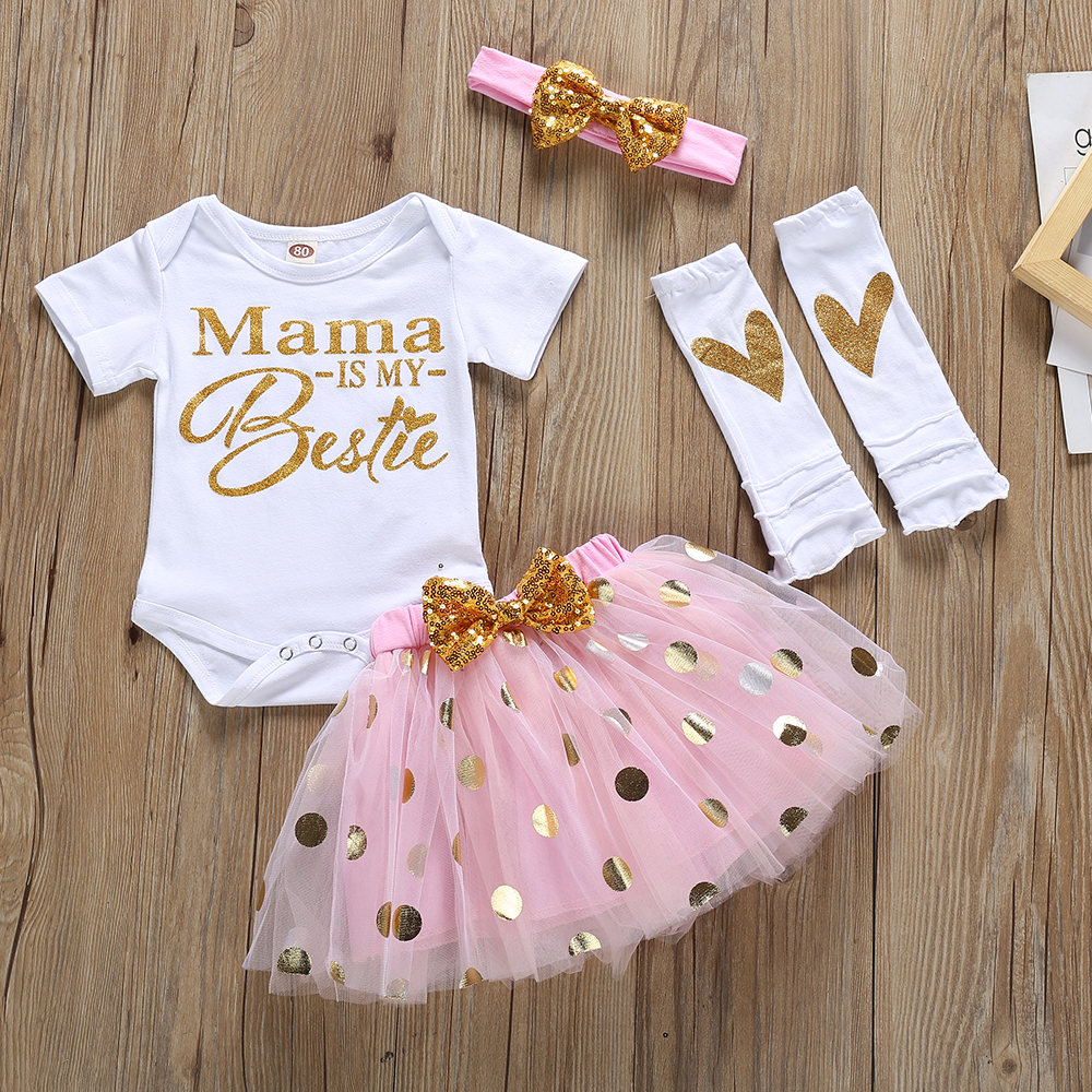 4Pcs Baby Girl My First Fathers Day Mothers Day Outfits Set Romper Top Polka Dot Tutu Skirt Leg Warmers Headband