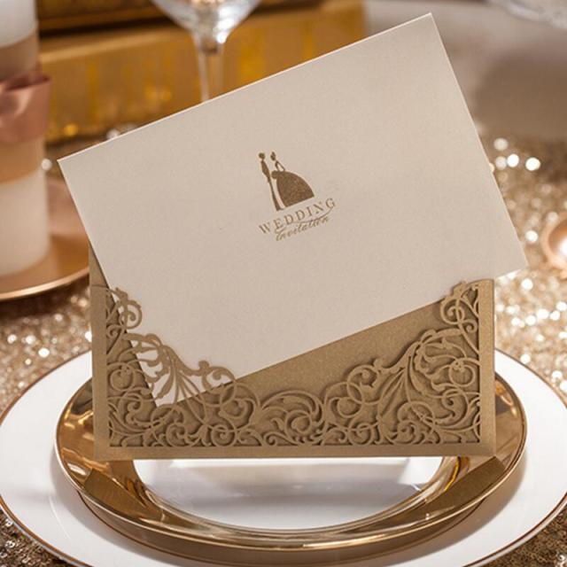 30pcs Pack Luxury Golden Laser Cut Wedding Invitations Bride Groom Card