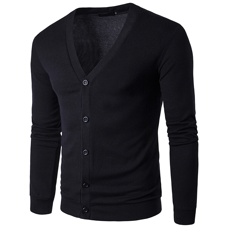V-Neck Thin Cardigan Casual Coat High Quality Men Sweater Knitwear Autumn
