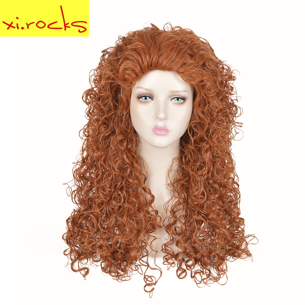 Rocks Brave Princess Merida Curly wig Cosplay Costume Mei lida Women  Synthetic Hair Halloween Party Role Play wigs d6bd2aea9