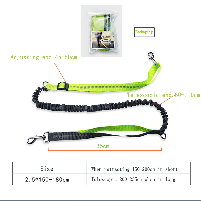 Retractable dog traction rope pet leash running training dog leads traction rope waterproof sports waist bag pockets dogs suppy in Leashes from Home Garden