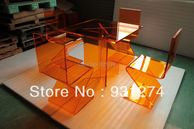 ONE LUX Colored Plexiglass Acrylic Dining Table X -Based,Lucite Perpex Cocktail Tables
