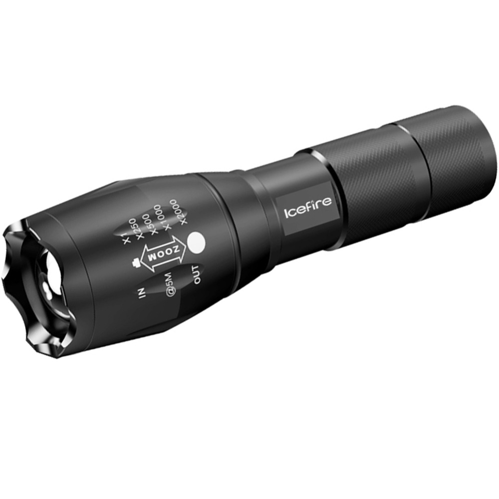 ICEFIRE K1 Portable Torch LED Zoomable Flashlight Pocket-Sized Light 2000 Lumens