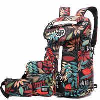 floral travel backpack women 40L weekend bag set women travel bag canvas backpack large laptop back pack bags weekender