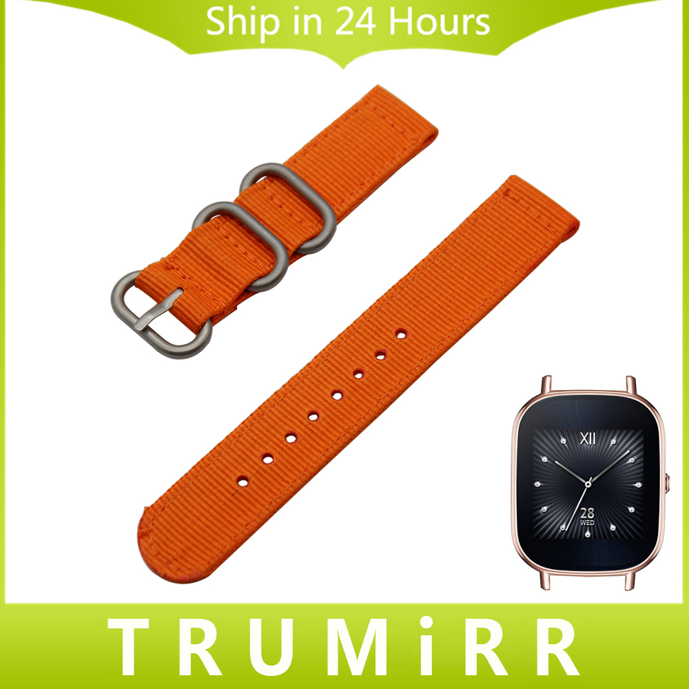18mm Nylon Watchband Zulu Strap + Tool for Asus ZenWatch 2 Women 45mm WI502Q Huawei Watch Fabic Band Wrist Belt Bracelet Orange 18mm crystal diamond watchband for huawei watch fit honor s1 asus zenwatch 2 woman wi502q quick release band steel wrist strap