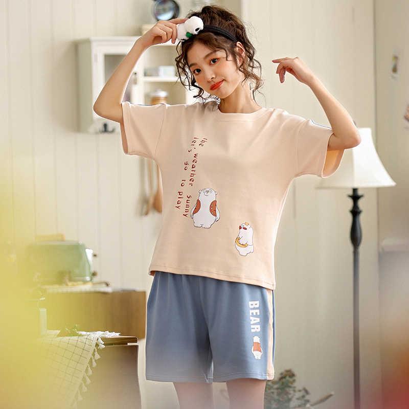 66762c81fd2d Пижамы наборы для Для женщин 2019 летняя модная ночная рубашка для отдыха  Домашняя ...