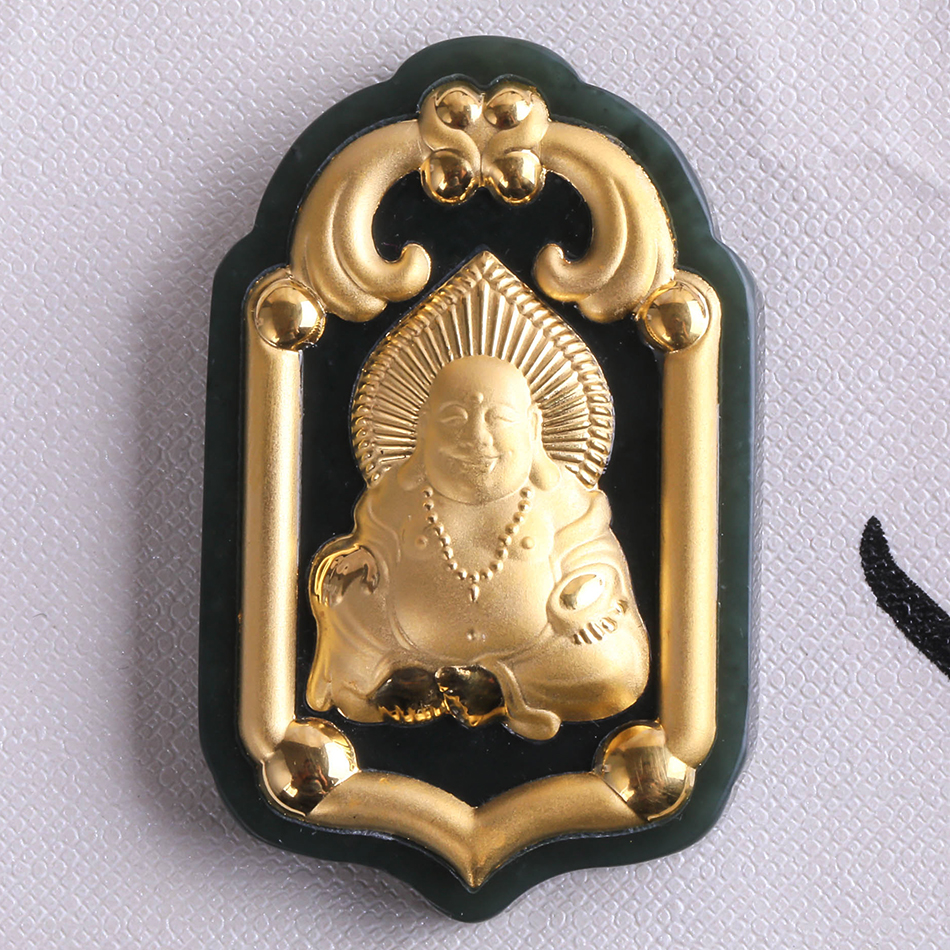 Dark Green Buddha Statue Pendant Hetian Jade Gold Necklace Big-bellied Maitreya Buddha Quality Necklace Pendant Free Shipping 45x49x8mm tjp natural jadeite jade buddha maitreya yu pei necklace pendant for women mysterious protection pendants jade