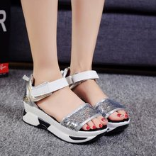 Women sandals 2019 summer new fashion fish mouth muffin bottom shoes sequins waterproof platform ladies casual